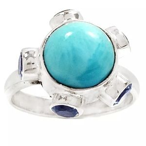 Jewelry - Larimar & light blue topaz 925 silver ring, 7